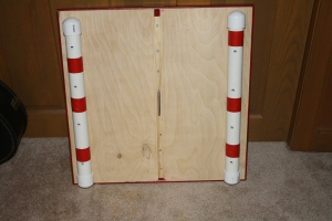 Here's the underside with the PVC stands and carrying handle