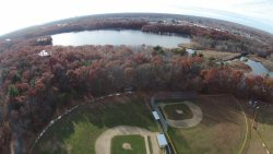 This is the Seekonk Middle School from 250' up.  I've lived in this town for over 50 years.  I went to this school, my son went to this school and his daughter went to this school.  None of us ever knew there was water behind the ball fields...